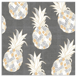Lunch Napkin - Pineapples on SLATE GREY