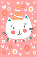Greeting Card - Baby (3D Kitty Cat with Party Hat)