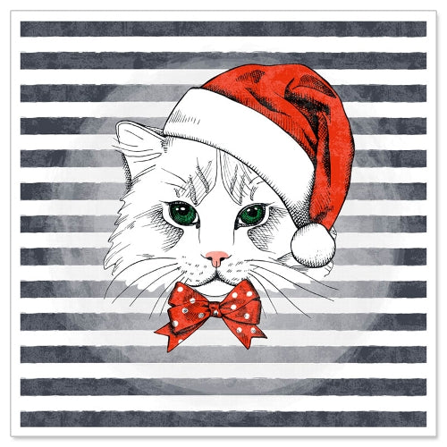 Greeting Card - Christmas Mini (Cat in Santa Hat)
