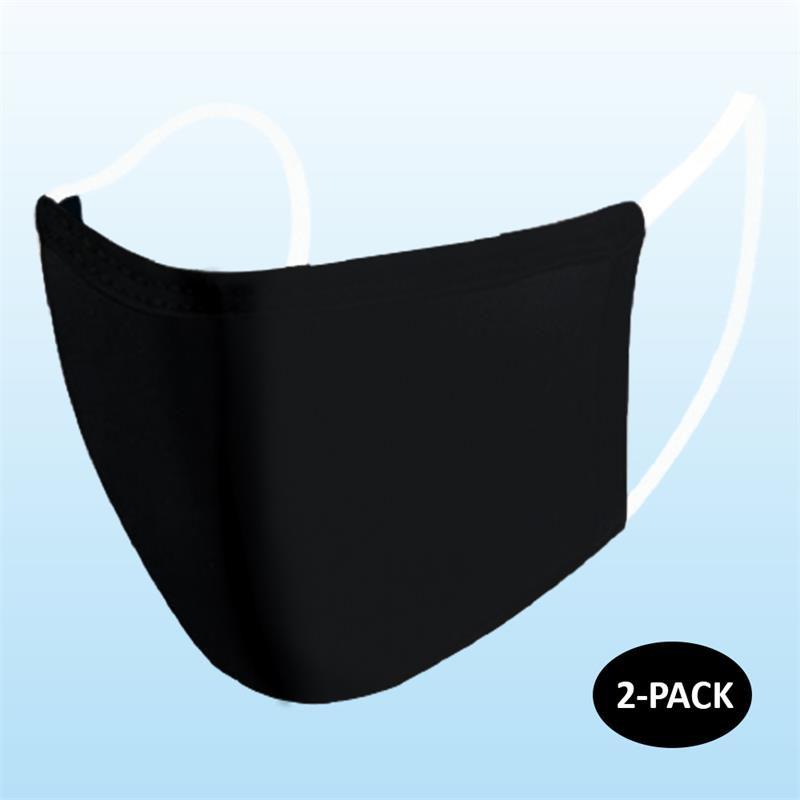 Face Mask - Black (Adult) - 2 PACK