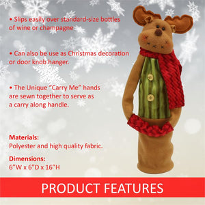 Wine Bottle Covers - Reindeer BROWN NOSE