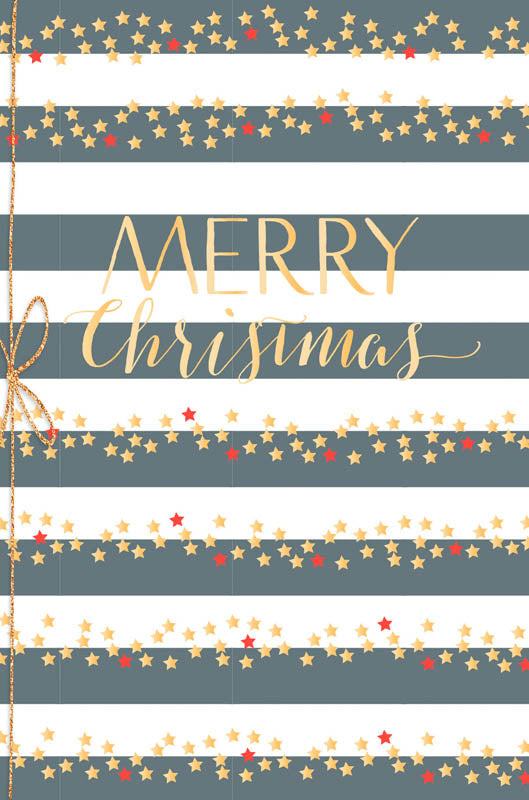 Greeting Card - Christmas (Merry Christmas - Stripes BLACK & WHITE)