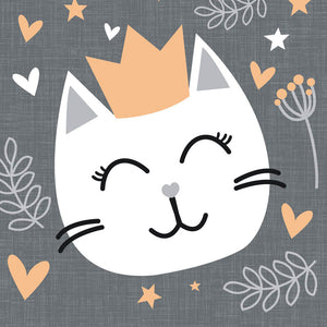 Load image into Gallery viewer, Lunch Napkin - Kitty Cat SLATE GREY
