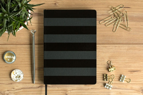 Load image into Gallery viewer, Notebook - BLACK Stripes (A5)