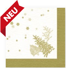 Dinner Napkin (AIRLAID) - Tree and Snowflakes GOLD (Collection: CH511722 & LH611722)
