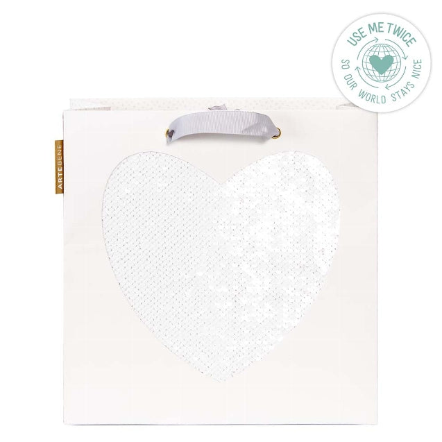Gift Bag - Large Sequins HEART - WHITE