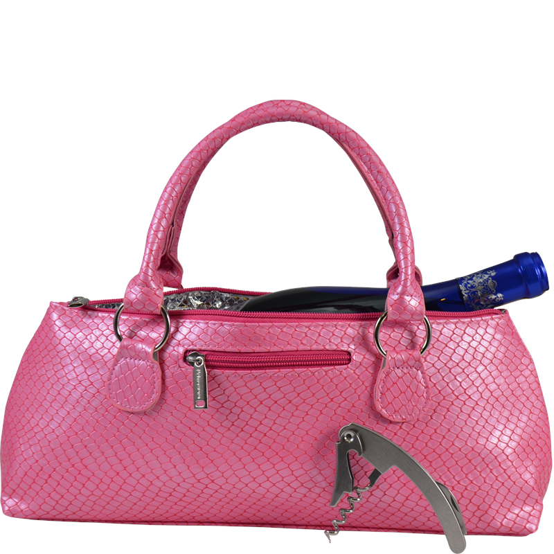 Load image into Gallery viewer, Wine Clutch - PINK BURMESE Insulated Single Bottle Wine Tote
