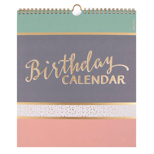 Birthday Calendar - Classy Happy Birthday Calendar GREEN/GREY/PINK