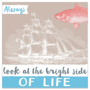 Lunch Napkin - SHIP Bright Side of LIFE (TAUPE/BLUE with RED Fish)