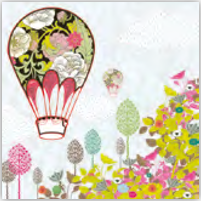 Lunch Napkin - Flowers Balloon Ride