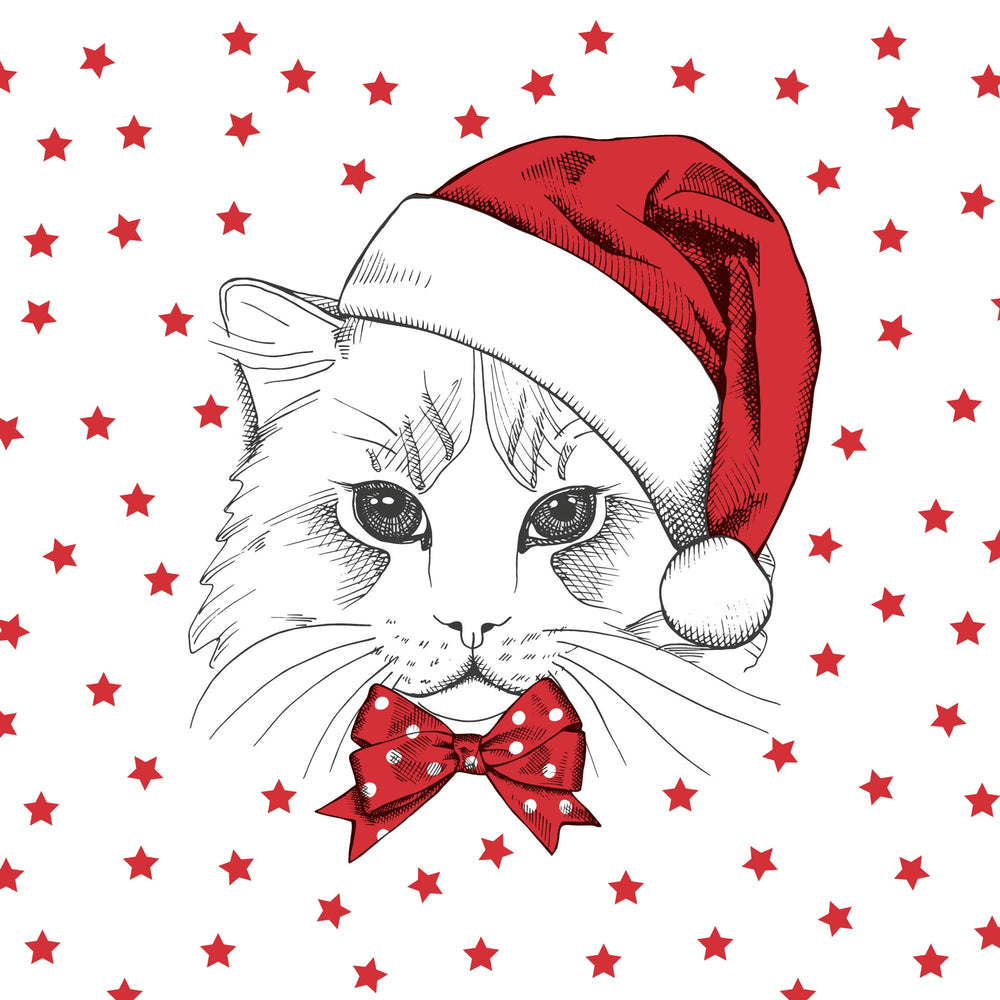 Lunch Napkin - Christmas Kitten RED