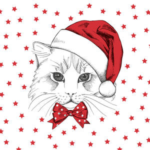 Load image into Gallery viewer, Lunch Napkin - Christmas Kitten RED