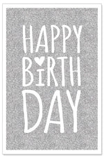 Greeting Card - Birthday (Silver Glitter)