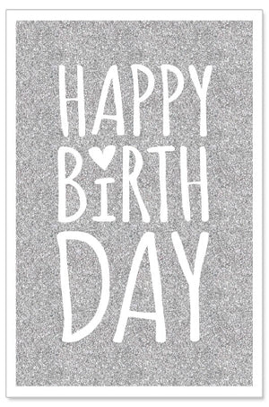 Load image into Gallery viewer, Greeting Card - Birthday (Silver Glitter)