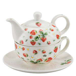 TEAPOT - Strawberries All Over WHITE (Tea 4 One) - COLLECTION