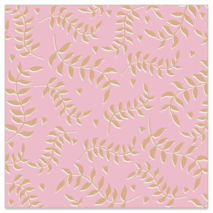 Lunch Napkin - GOLD Leaves Pattern on PINK