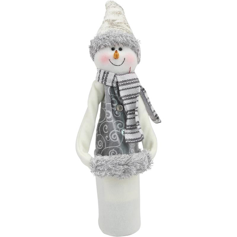 Wine Bottle Covers - Snowman FROSTY WHITE