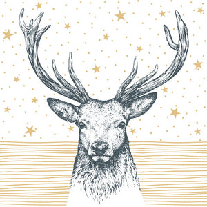 Lunch Napkin - Deer GOLD with Stars