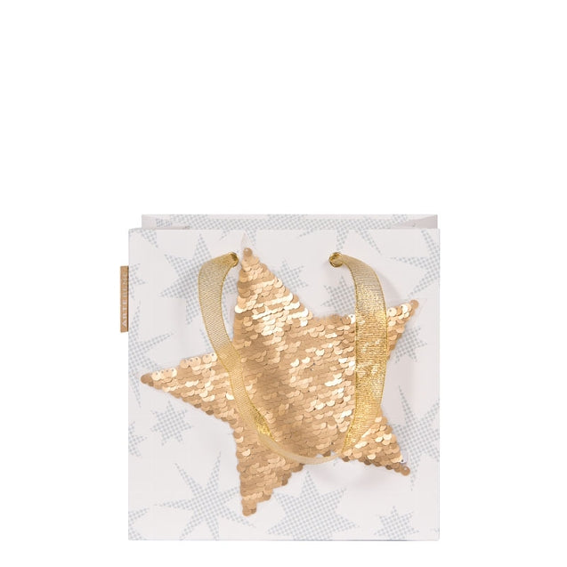 Gift Bag - Small Sequins STAR - GOLD/SILVER