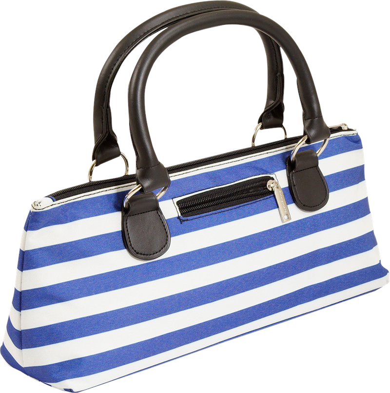 Load image into Gallery viewer, Wine Clutch - BLUE STRIPES Insulated Single Bottle Wine Tote