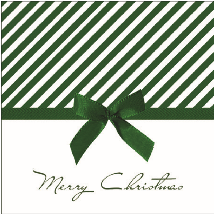 Lunch Napkin - Christmas Bow GREEN