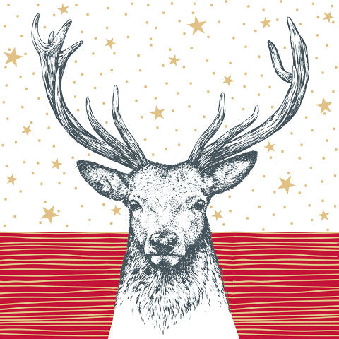 Lunch Napkin - Deer RED with Stars