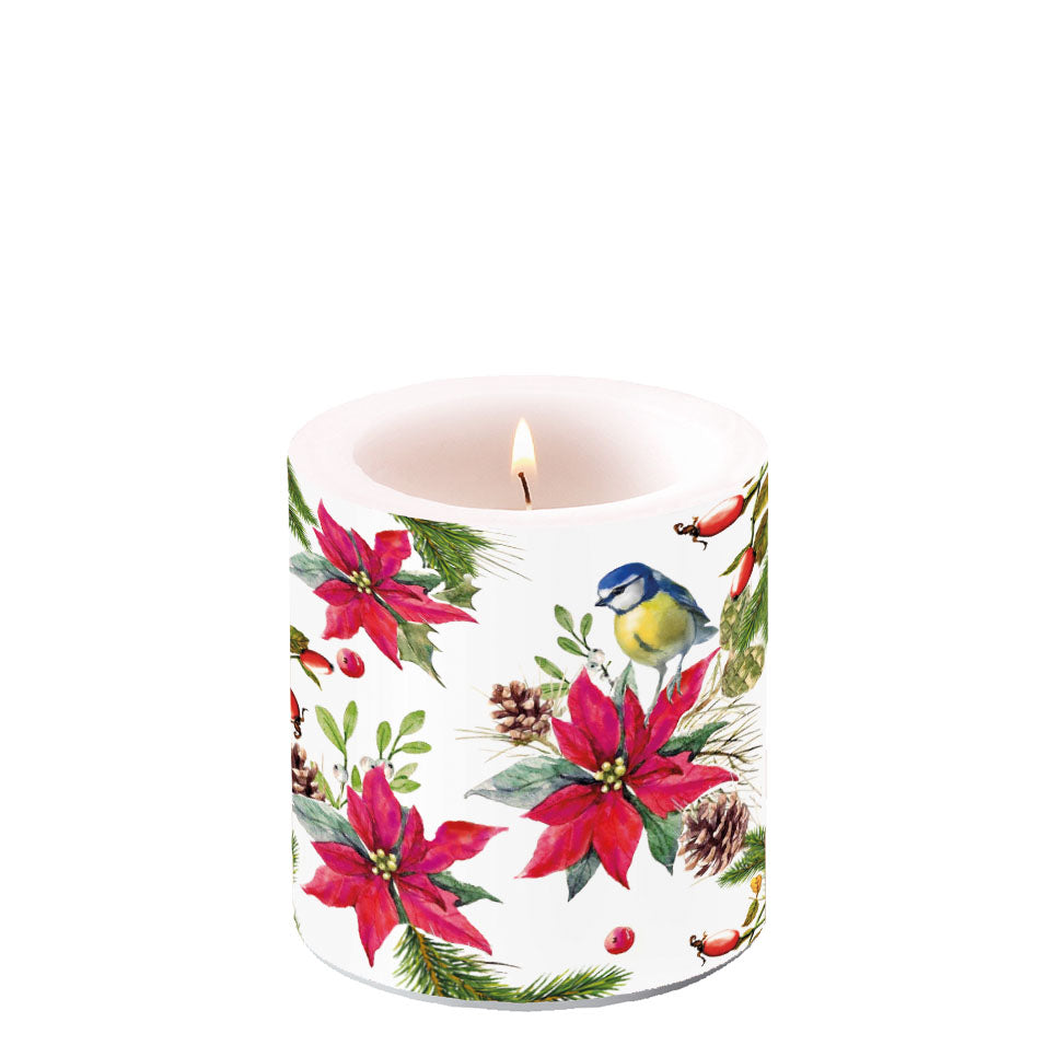Candle SMALL - Bird on Poinsettia WHITE - COLLECTION