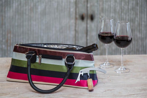 Load image into Gallery viewer, Wine Clutch - STRIPES Insulated Single Bottle Wine Tote