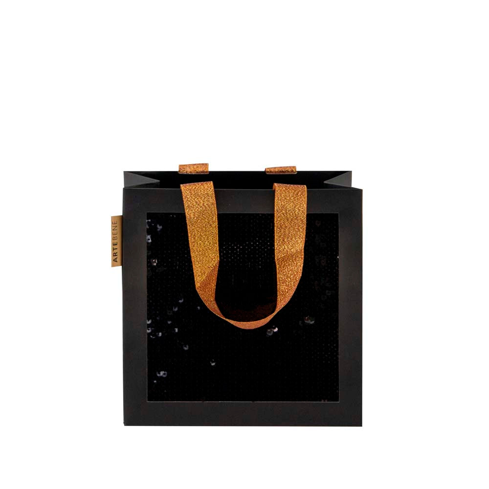 Gift Bag - Small Sequins SQUARE - BLACK