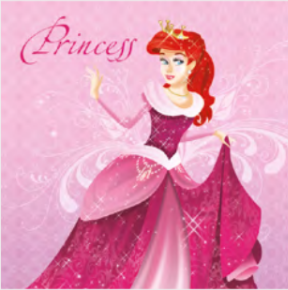 Lunch Napkin - Pink Princess with Red Hair