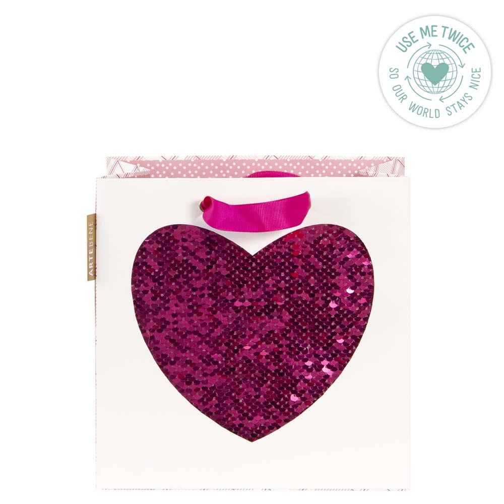 Gift Bag - Small Sequins HEART - HOT PINK