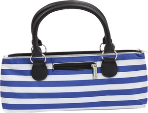 Wine Clutch - BLUE STRIPES Insulated Single Bottle Wine Tote