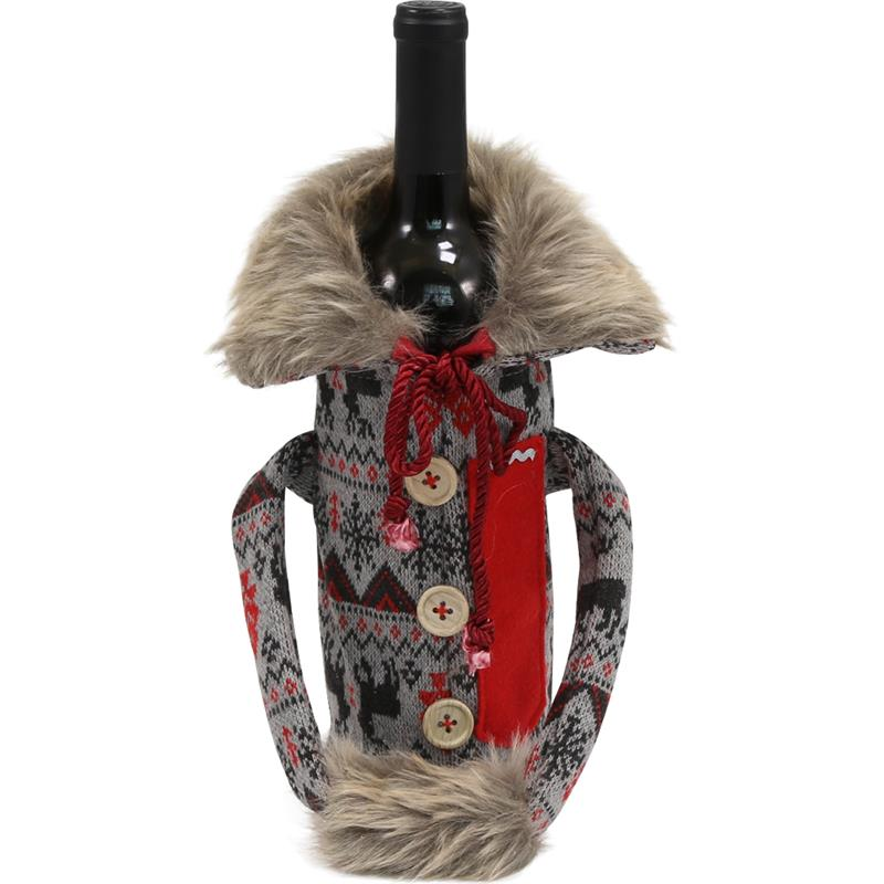 Wine Bottle Covers - Sweater REINDEER-GREY