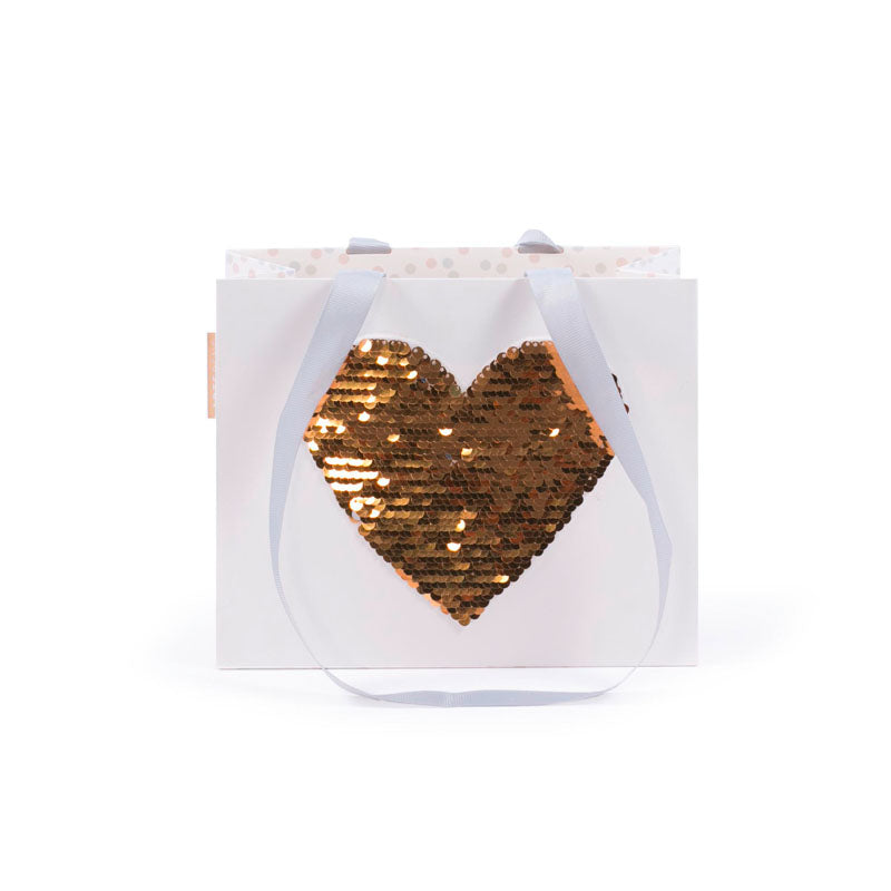 Gift Bag - Small Sequins HEART - GOLD/SILVER