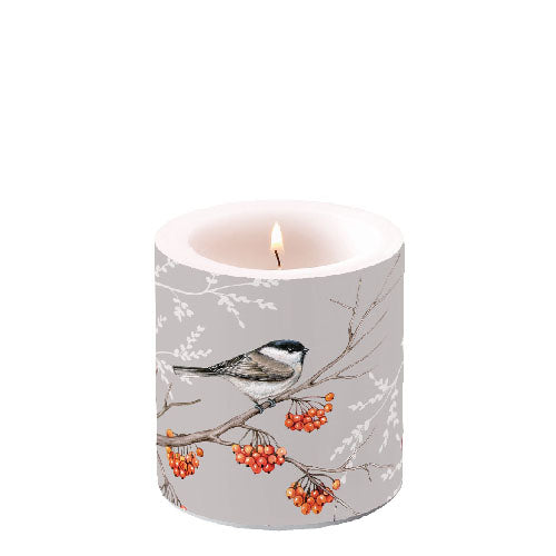 Candle SMALL - Bird on Branch GREY - COLLECTION