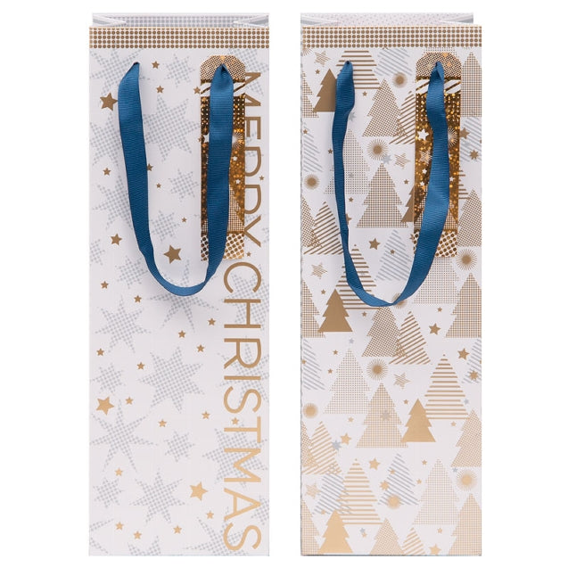 Gift Bag - Merry Christmas Stars & Trees for Wine Bottle (2 PCS COLLECTION)