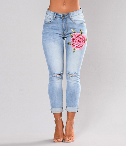 Send me a Rose Embroidery Jeans - uzoic