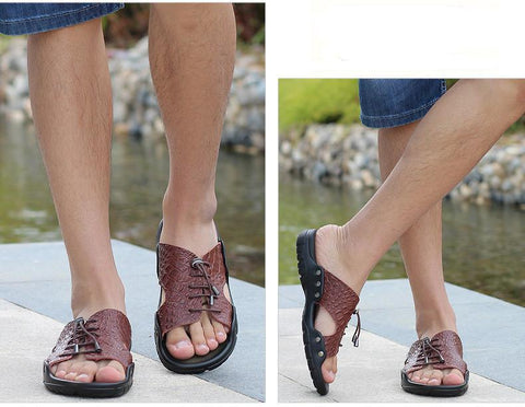 Cross Tied Summer Leather Slippers - uzoic