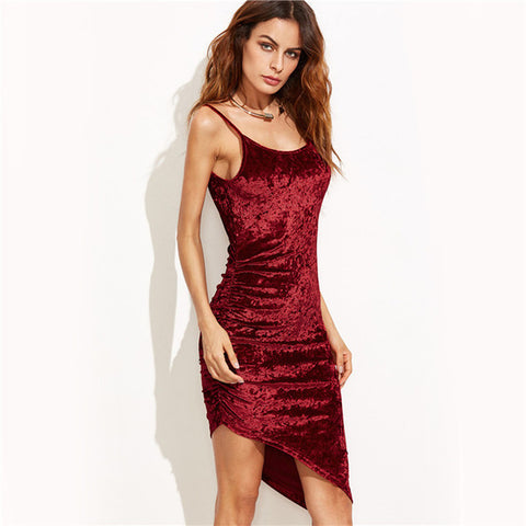 No Rush Asymmetric Velvet Dress - uzoic