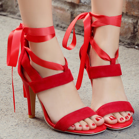 Walk It Out Tie Up Heels - uzoic