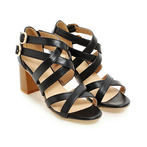 Crossed Straps Gladiator Heels - uzoic