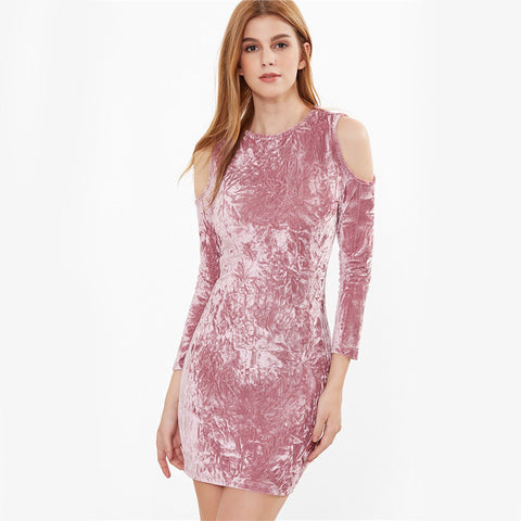 Cold on The Shoulder Velvet Dress - uzoic