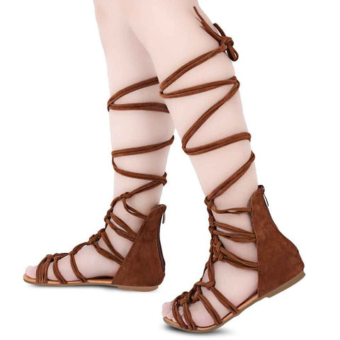 Tied up Flat Sandals - uzoic