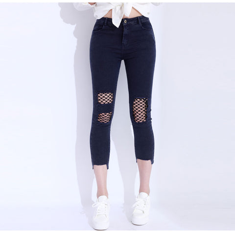 On the Hollow Side Denim Jeans - uzoic