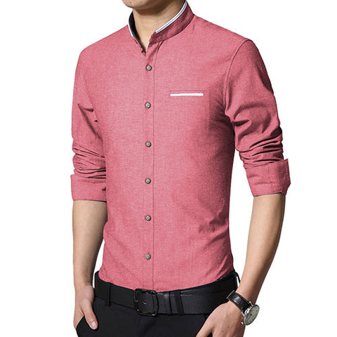 Senior Men Mandarin Slim Fit Shirt - uzoic