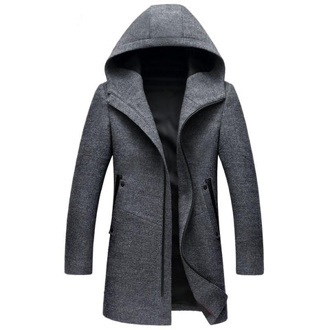 Hooded Wool Blend Coat - uzoic