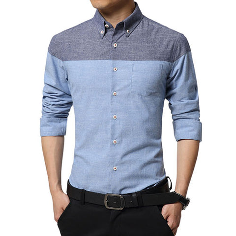 Patchwork Slim Fit Men Shirts - uzoic