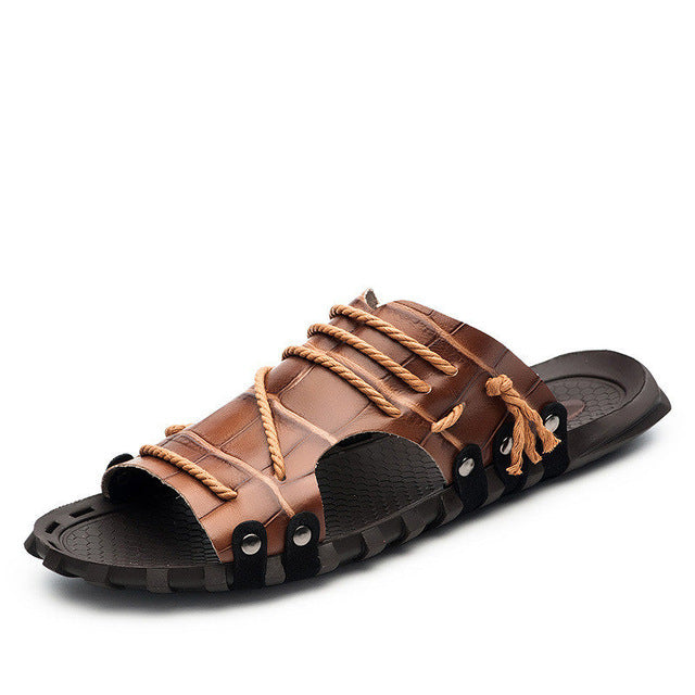 Roped Beach Leather Slippers - uzoic