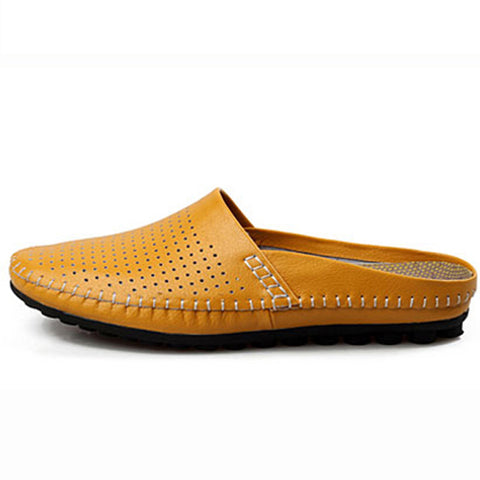 Cow Leather Men Slippers - uzoic