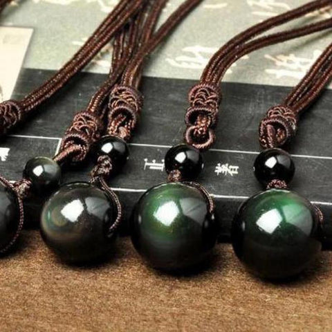 Black Obsidian Rainbow Eye Necklaces